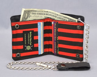 Vegan Chain Wallet Black and Red Pirate Stripe, Black Canvas, Fabric Pockets, Punk, Goth, Rocker
