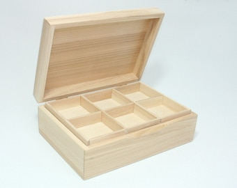 Jewelry Storage Box / Box with Removable Layer / Natural Wood Box / Ash Wood Box / Collection Box 8.66 x 5.70 x 2.95 inch