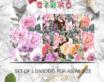 Watercolor Flower Planner Dividers - Set of 5 Planner dividers for A5 / A6 Index Planner Dividers