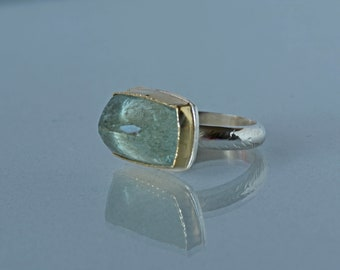 Aquamarine Ring in Gold and Silver, Large Moss Aquamarine Cocktail Ring, Size 7.5 Statement Ring, Rose Cut Aquamarine, March Birthstone,
