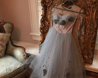 1950s Vintage Ethereal Pale Blue/Lilac Tulle Prom Gown XS