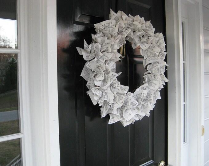 sheet music wreath hymnal music vintage paper wreath wedding decor gift music lovers mantle door wreath front door Beach House DreamsHomeOBX