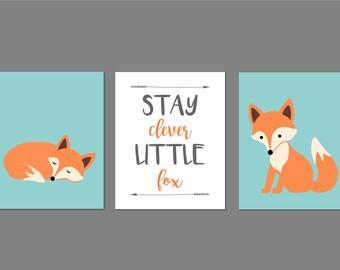 Stay Clever Little Fox, Woodland Nursery Decor, Fox Nursery, Forest Nursery Art, Baby Boy Nursery, Forest Nursery, Set of three 8x10s