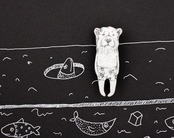 California Bear Enamel Pin grizzly bear Brooch hand drawn enamel copper brooch Enamel jewelry enamel Animal pin Artist white concept brooch