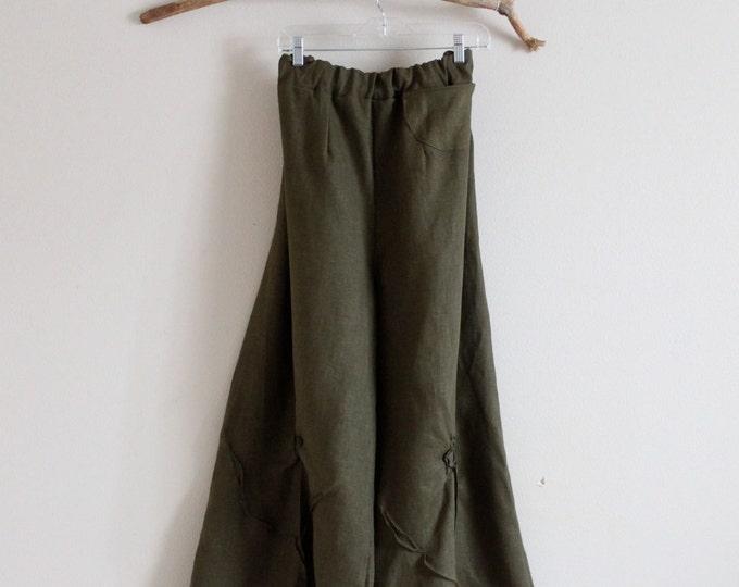 Plus size custom linen rose tucks super wide leg pants / plus size wide leg linen pants / custom crotch length welcome  / casual linen pants
