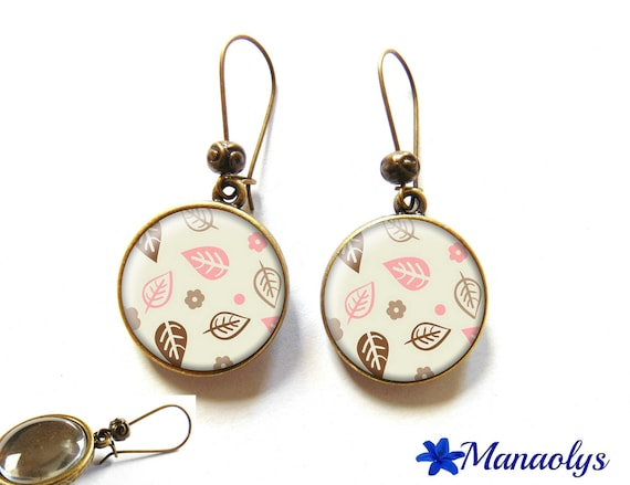 Earrings sleepers bronze, retro, flowers and leaves, pink and Brown 2106