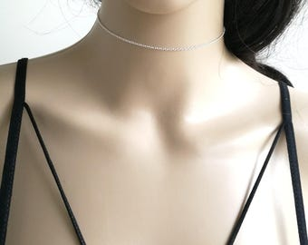 Choker Chain Necklace, Silver Choker Necklace, Delicate Choker, Dainty Choker Necklace, Delicate Choker Necklace, Delicate Silver Choker