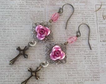 Rose earrings crosses silver filligree handmade jewelry pink roses sterling vintage rosary