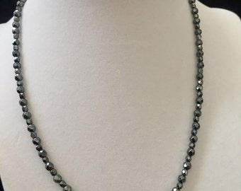 """Hematite and Czech Fire-Polished Glass beaded Necklace 17"""", beaded necklace, gifts for women mom sister best friend wife girlfriend"""