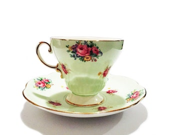 Vintage Tea Cup and Saucer Mint Green Teacup by E.B. Foley TeaCup, EB Foley, Bone China, Made in England, Floral Motif Cabbage Rose