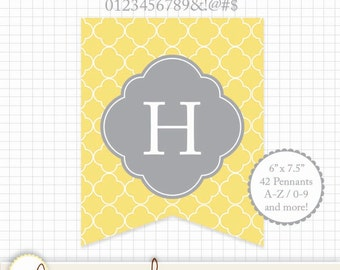 """Printable Pennant - Quatrefoil Yellow and Gray (Grey) A-Z & 0-9 Symbols 6"""" x 7.5"""" Rectangle - Create any message!"""
