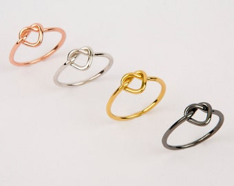 Heart knot ring, Gold knot ring,  Heart shape knot ring,  Gold knot ring,  Friendship ring,  Wedding jewelry  Bridesmaid jewelry