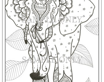 Henna Elephant Coloring Page