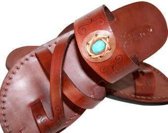 Brown Decor Bath Leather Sandals For Men & Women - Handmade Sandals, Leather Flip Flops, Unisex Flat Sandals, Brown Leather Sandals