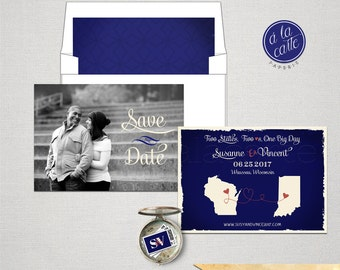USA Two States Save the Date Card Cobalt Blue Royal Blue Navy colors with photo Destination wedding invitation DEPOSIT PAYMENT