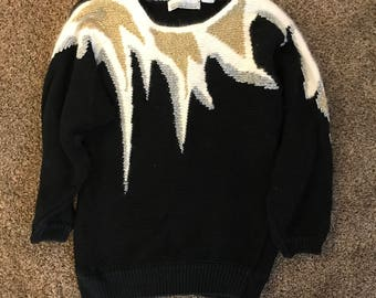 Vintage Gold & Silver Ugly Christmas Sweater (Medium)