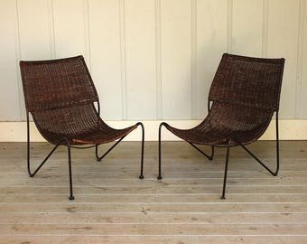 RESERVED Pair Mid Century Weinberg Style Sling Scoop Chair Cane Wrought Iron Rattan Van Keppel Green Frederick Modern