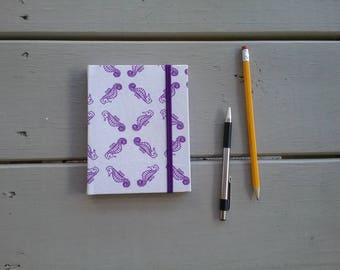"""Seahorse Pattern Handmade Cloth-bound Softcover Journal - 4.25""""x5.5"""" - Lined, 100 pages - Elastic closure, original design/pattern"""