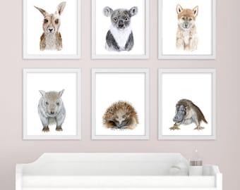 Baby Animal Art - Australian Nursery Prints - Australian Animal - Print Set - Koala, Kangaroo, Platypus, Echidna, Wombat, Dingo - Girl - Boy