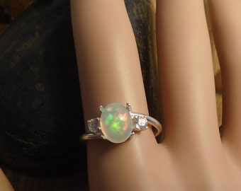 Brilliant Sky Blue Ethiopian Fire Opal 2 Gemstone Accent Gems Ring, Sterling Silver, 1.59 Cts 9.20 x 7.20 mm Natural Welo Ethiopian Opal