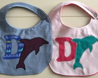 D is for Dolphin Bib - Hand Appliquéd