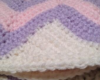 Chevron baby blanket - pink and purple