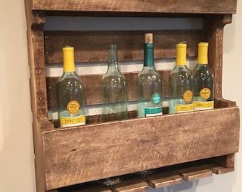 wood wine rack whiskey rack holder shot glasses and wine glasses
