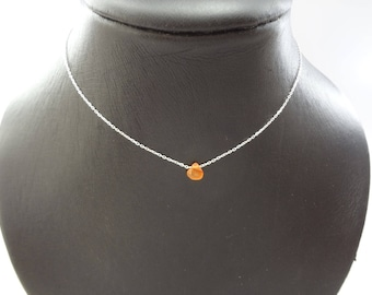 Necklace 925 sterling silver and carnelian drop