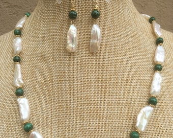 Freshwater Pearl, malachite and gold necklace and earrings
