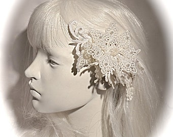 Lace Bridal Hairpiece Wedding Accessories Victorian Winter Weddings White Cottage Chic B-134