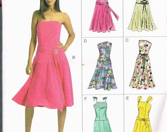 Size 18-22 Misses' Plus Size Formal Dress Sewing Pattern - Strapless Drop Waist Dress With Sash - Fitted Bodice Flared Skirt - Vogue V8019