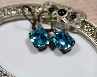 Blue Lagoon Vintage Swarovski Rhinestone Earrings