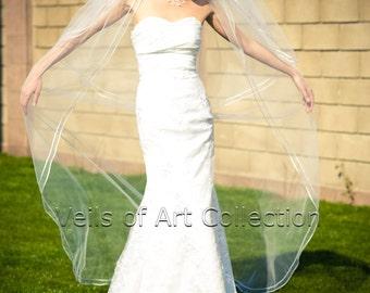 "2T Chapel Bridal Wedding Veil Double 1/8"" Satin Cord Trim VE224 white, ivory NEW CUSTOM VEIL"