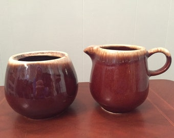 Vintage McCoy brown drip pottery sugar bowl and creamer ~ McCoy USA, 7020