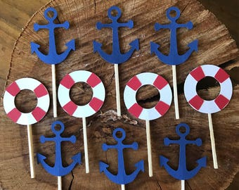 Anchor & life preserver cupcake toppers