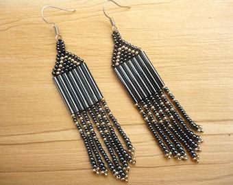 hematite black-silver long dangle earrings, seed bead fringe earrings, chandelier earrings, seed bead jewelry, gift for her