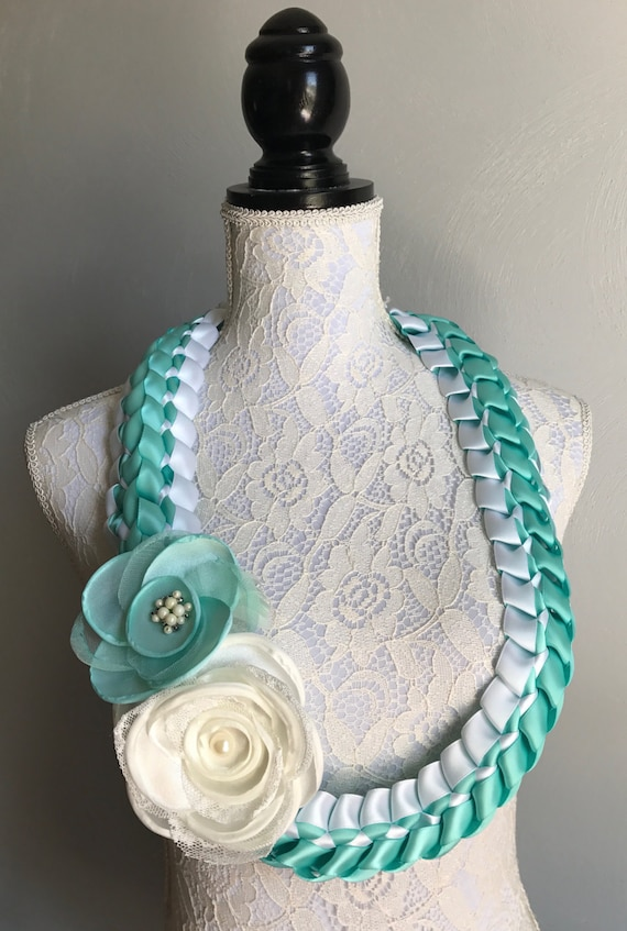 Lei Can Be Made With Construction Paper Yarn Solid: Graduation Lei Aqua And White Ribbon Lei Satin Ribbon Lei