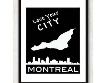 Digital Print - Montreal Map City Skyline Decor - Wall Art