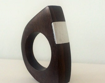Silver and wood  arch rings. Silver rings. Handmade recycled timber jewellery. Very unique one-off piece.