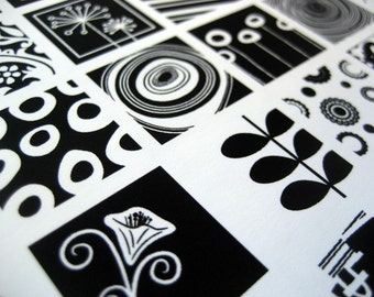 Doodles. Black and White Pendant Squares.