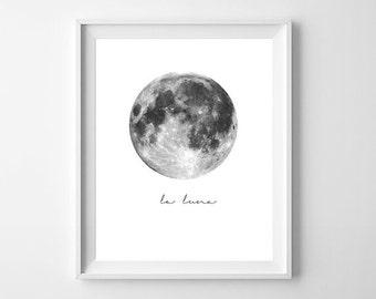 La Luna Print, Moon Poster, Full Moon Print, La Luna Wall Art, Moon Art Print, La Luna, Full Moon Printable, La Luna Printable, Moon Print