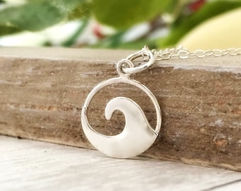 Wave necklace - nautical jewelry - beach gift for her - ocean - waves- vacation - travel jewelry - wanderlust - summer - sterling silver