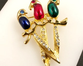 Colorful Bird Brooch, Vintage Jewelry, Rhinestone Brooch, Three Birds on Branch, Gold Tone Vintage Brooch, Figural Brooch, Animal Lover Gift