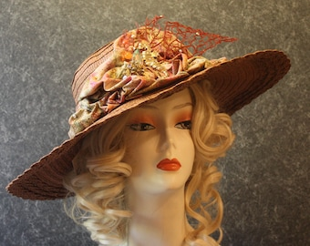 Brown Kentucky Derby Hat, Derby Hat, Garden Party Hat, Tea Party Hat, Easter Hat, Church Hat, Wedding Hat, Downton Abbey Brown Hat 605