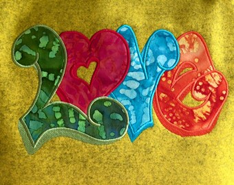 Love Graffiti Font Applique  6x10 Pes, Dst, Vip, Jef and Hus
