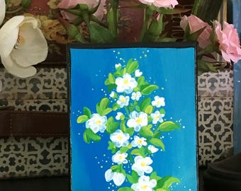 Abstract acrylic painting of flowers