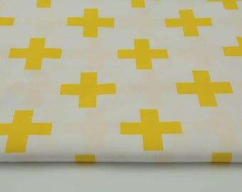Fabric 100% cotton a half metre 50 x 160 cm, cotton 100% Yellow Cross, as well as on a white background fabric.