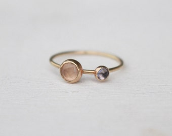 14 K Gold stackable Ring with Rose quartz an Tansanit