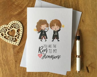 Card a6 harry potter ron hermione illustration characters personalised birthday anniversary card harry potter ron to my hermione love bookmarktalkfo Image collections