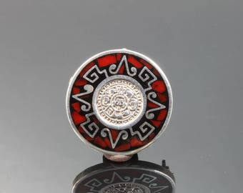 Vintage! Sterling Silver Taxco Red Inlaid Stone Pin/ Pendant